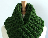 Made to Order - Chunky Knit Kelly Green Long Infinity Cowl Scarves