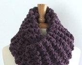 Chunky Knit Dusty Purple Long Infinity Cowl Scarf