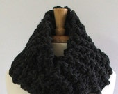 Made to Order - Chunky Knit Charcoal Gray Long Infinity Cowl Scarf