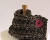 Chunky Knit Chestnut Brown Cowl Scarf with Large Hot Pink Button