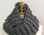 Made to Order - Chunky Knit Silver Gray Long Infinity Cowl Scarf