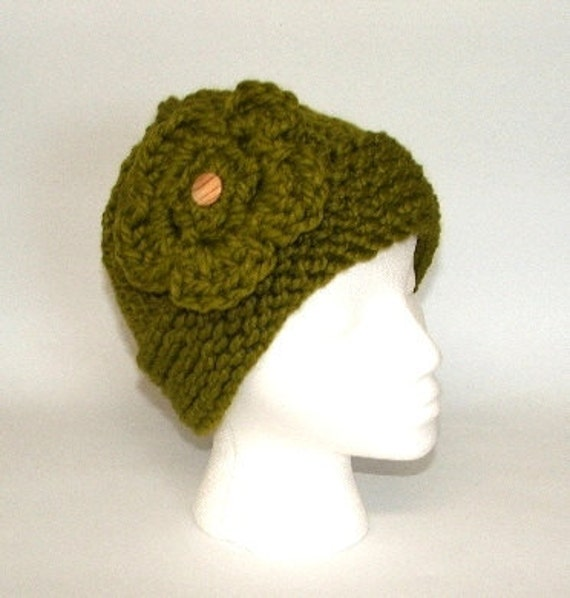 December Christmas Sale - Lemongrass Green Chunky Knit Hat with Crocheted Flower
