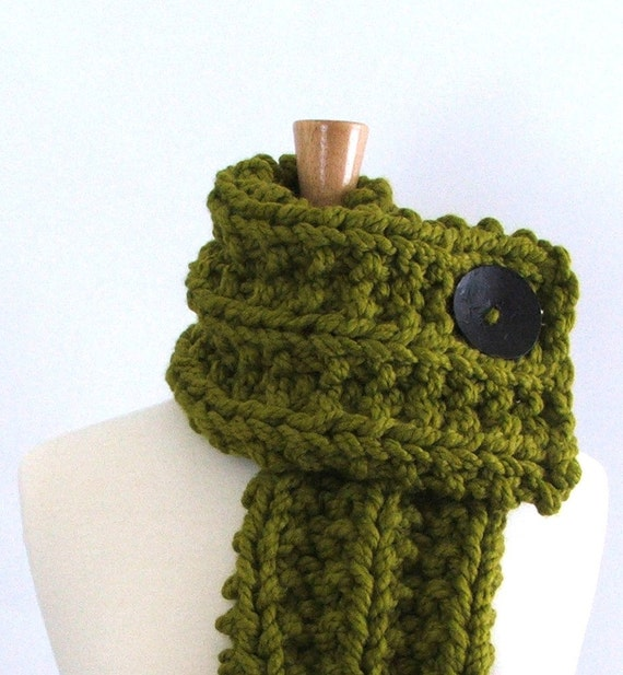 Reserved Listing for Amy - Chunky Knit Lemongrass Green Cowl Scarf with Large Black Button