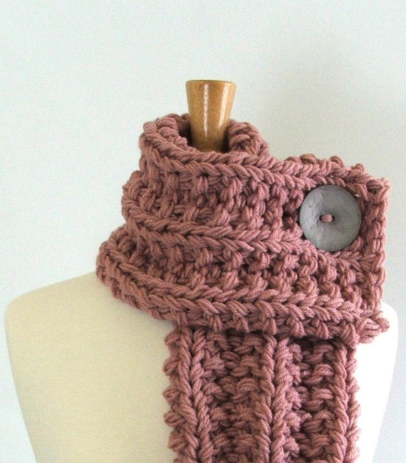 Chunky Knit Dusty Rose Cowl Scarf with Round Light Gray Button