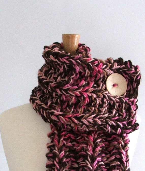 Chunky Knit Chocolate Brown / Pink / Cream Cowl Scarf with Large Cream Button