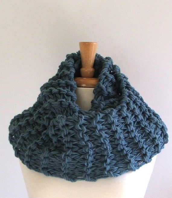 Chunky Knit Dusty Blue Long Infinity Cowl Scarf