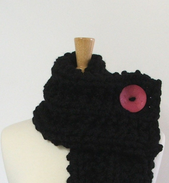 Chunky Knit Charcoal Black Cowl Scarf with Large Hot Pink Button