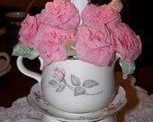 Vintage Chic Shabby Cottage Lamp Light Antique Creamer Sugar Bowl Candle Light