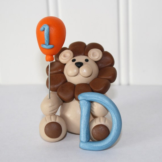 Custom Listing for jehicks21 - Made Clay Lion Cake / Cupcake Topper with Letter
