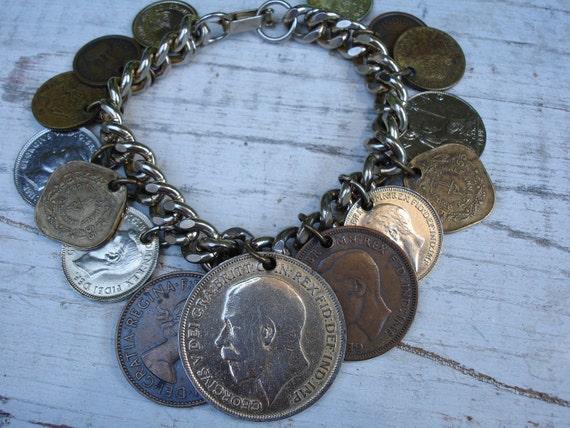 World Coin Bracelet Vintage Charm Bracelet Vintage Bracelet