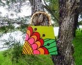 MOD Mexican Flower Hand Painted Cigar Box Purse, Bamboo Handle, Original Design by Vivian Estalella