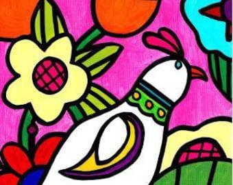 Pretty Bird with Flowers-Art Print / Giclée, Original Design by Vivian Estalella 8 X 10