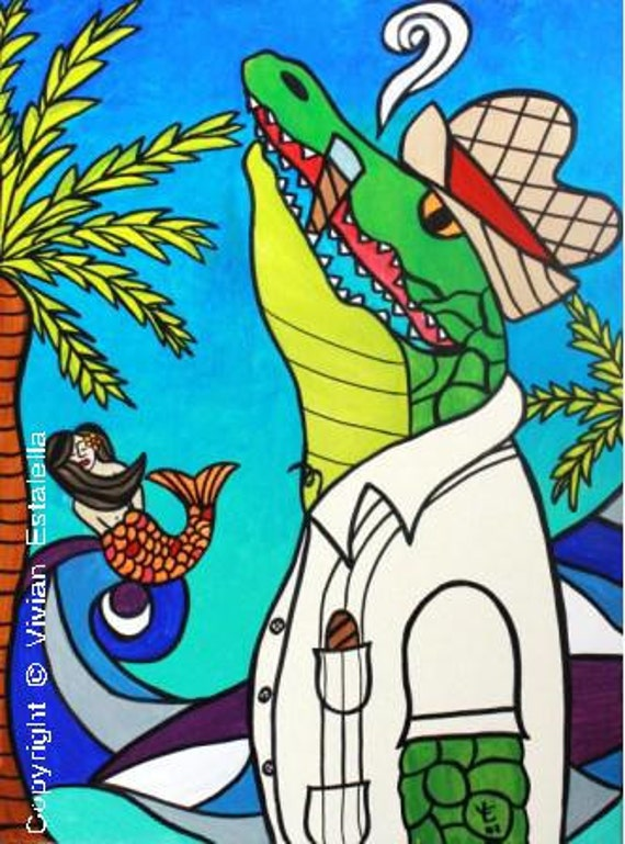 Cigar Smoking Gator-Art Print / Giclée, Original Design by Vivian Estalella 8 X 10