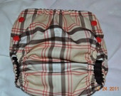 Side snapping Brown Plaid Pocket Diaper - LARGE L - slight second
