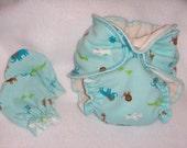 Newborn Fitted diaper and mitten set - Gender nuetral NB