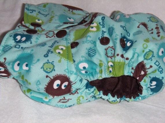 Aqua Ooga Booga with Brown Pocket Diaper - One Size OS