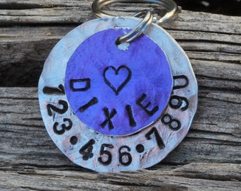 Dog Tag/Tags, Pet ID Tag, Dog Collar Tag, Personalized, Pet Charm, Keychain, Unique Hand Stamped. ..... Loving Dixie