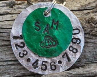 Dog Tag/Tags, Pet ID Tag, Dog Collar Tag, Personalized, Pet Charm, Keychain, Aluminum ..... Puppy Face Sam