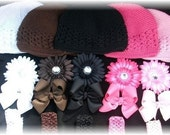 Hairbow Set.. 20 PIece 5 Beanies 5 Flower Clips 5 Boutique Hairbows and 5 Headbands..Newborn Toddler Big Girl GREAT GIFT