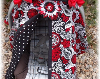 Carseat Canopy / Carseat Cover / Carseat Tent / Carseat Blanket  / Hairbows and Flower Clip / Red Diva Bloom