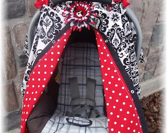 Red Dot Damask Carseat Canopy Nursing Cover as well
