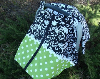 Infant Carseat Canopy Scroll Dots You pick colors of dots