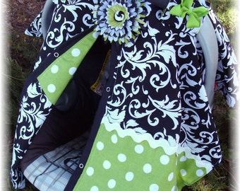 Carseat Canopy Lime Green Scroll Cover