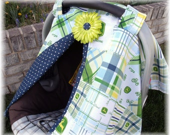 Car seat Canopy FREESHIP John Deer Removable Flower Clip BOY carseat cover carseat tent nursing cover