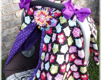 Carseat Cover with Flower Clip and Bows Whoot Owl Carseat Cover