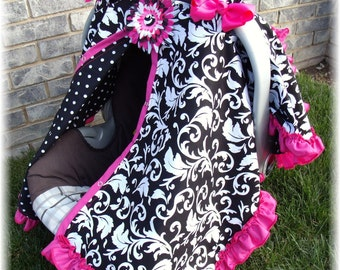 Baby Carseat Canopy Sroll Ruffle Carseat Blanket CReATE YouR OWN Colors RuFFle Cover