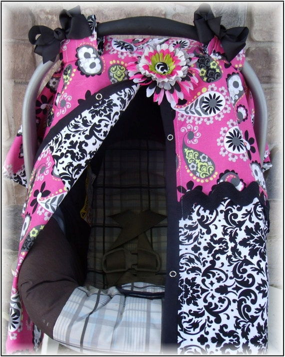 Carseat Canopy / Carseat Cover / Carseat Tent / Carseat Blanket Paisley Damask