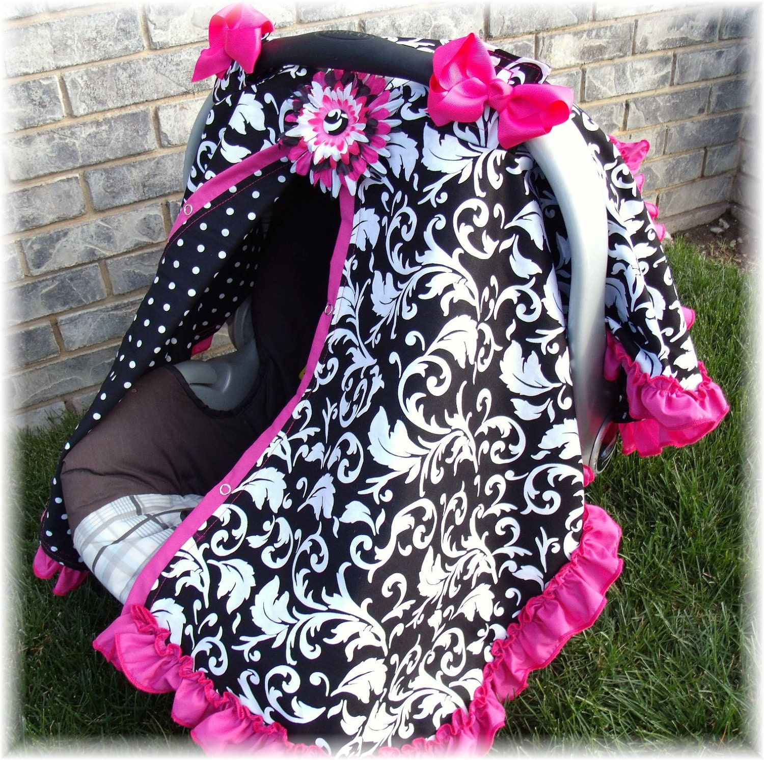 Baby Carseat Canopy Sroll Ruffle Carseat Blanket Create Your