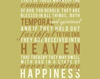 SALE - Mosiah 2:41 - Never Ending Happiness Print