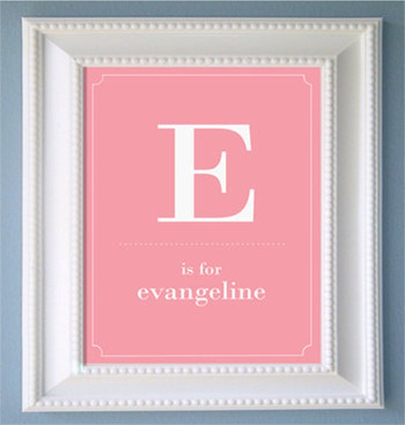Nursery or Children's Room Personalized Print with your child's Initial