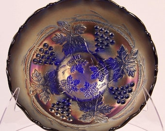 Fenton Vintage Pattern Blue Carnival Glass Bowl