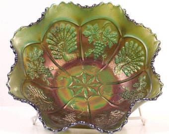 Fenton Peacock and Grape Green Carnival Glass Bowl
