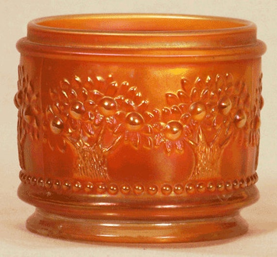 Fenton Orange Tree Marigold Powder Jar Base