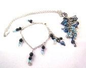 RESERVED FOR JESUISAMOUREUX Cascading Blues Duet necklace and bracelet fading from black to blue