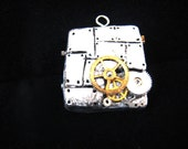 Clockwork Mithril painted clay and vintage watch parts pendant