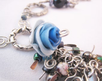 Nocturnal Roof Garden Kittangle Kascade necklace, silver chain, blue beads OOAK