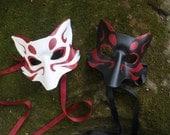 Kitsune Fox Leather Mask Made to Order, Great for Halloween Burning Man Masquerade Costume LARP Cosplay Mardi Gras