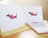 Dachshund Ladybug - Note Cards and Personalized Notepad Set (8 cards, 1 notepad)