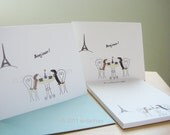Dachshund Note Cards, Personalized Notepad Set - Dachshunds in Paris Cafe Set (8 cards, 1 notepad)