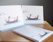 Dachshund Note Cards, Personalized Notepad Set - Dachshunds on Gondola (8 cards, 1 notepad)