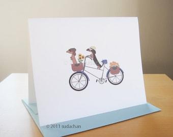 "Dachshunds On Bicycle Card - Single Card (4.25"" x 5.5"")"