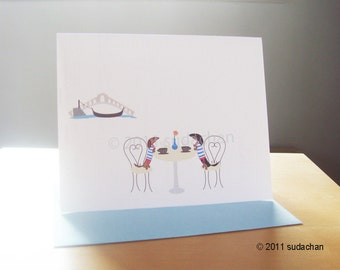 "Dachshunds in Venice Cafe - Single Card (4.25"" x 5.5"")"