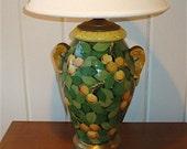 Ceramic Pottery Majolica Lamp, vintage Italian handpainted Lemons or Oranges