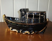 1950s Retro Kitsch Ceramic  Lamp Base or TV Statue, Chinese Junk Boat
