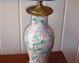 Chinoiserie Ginger Jar Lamp, Pink Lamp, Asian Lamp