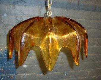 Mid-Century Modern Hanging Light in Amber Art Glass, Amoeba Form
